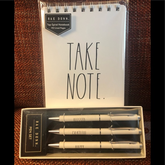RAE DUNN NOTE BOOK AND PEN SET